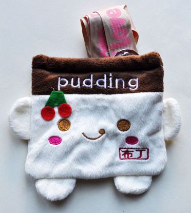 MISC266 Cute Plush Pudding Purse with Strap - Vanilla
