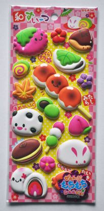 STIC477 Japanese Sweets Super Puffy Foam Raised Sticker Sheet