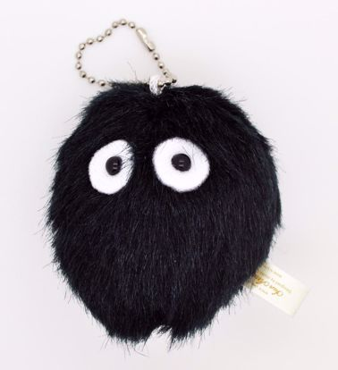PLUSH251 Cute and Fluffy Black Dust Bunny Totoro Plush Key Chain / Charm