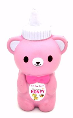 SQUISH1971 Bunnys Cafe Super Soft and Slow Rising Scented KT Bee Farm Honey Bottle Squishy - Pink